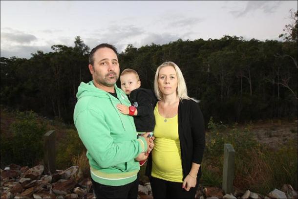 Glen Grono and Erin Edwards with Taj, 2, were shocked by quarry plan. Pic: Richard Gosling